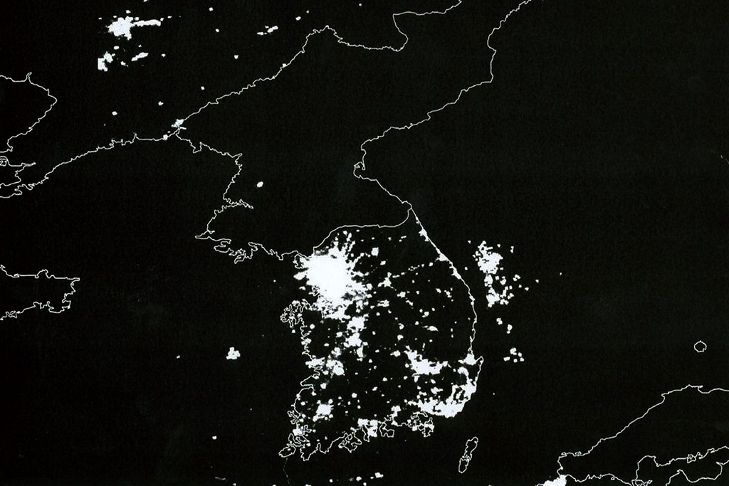 Image result for satellite korea at night