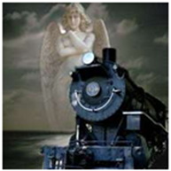 angel watches speeding train